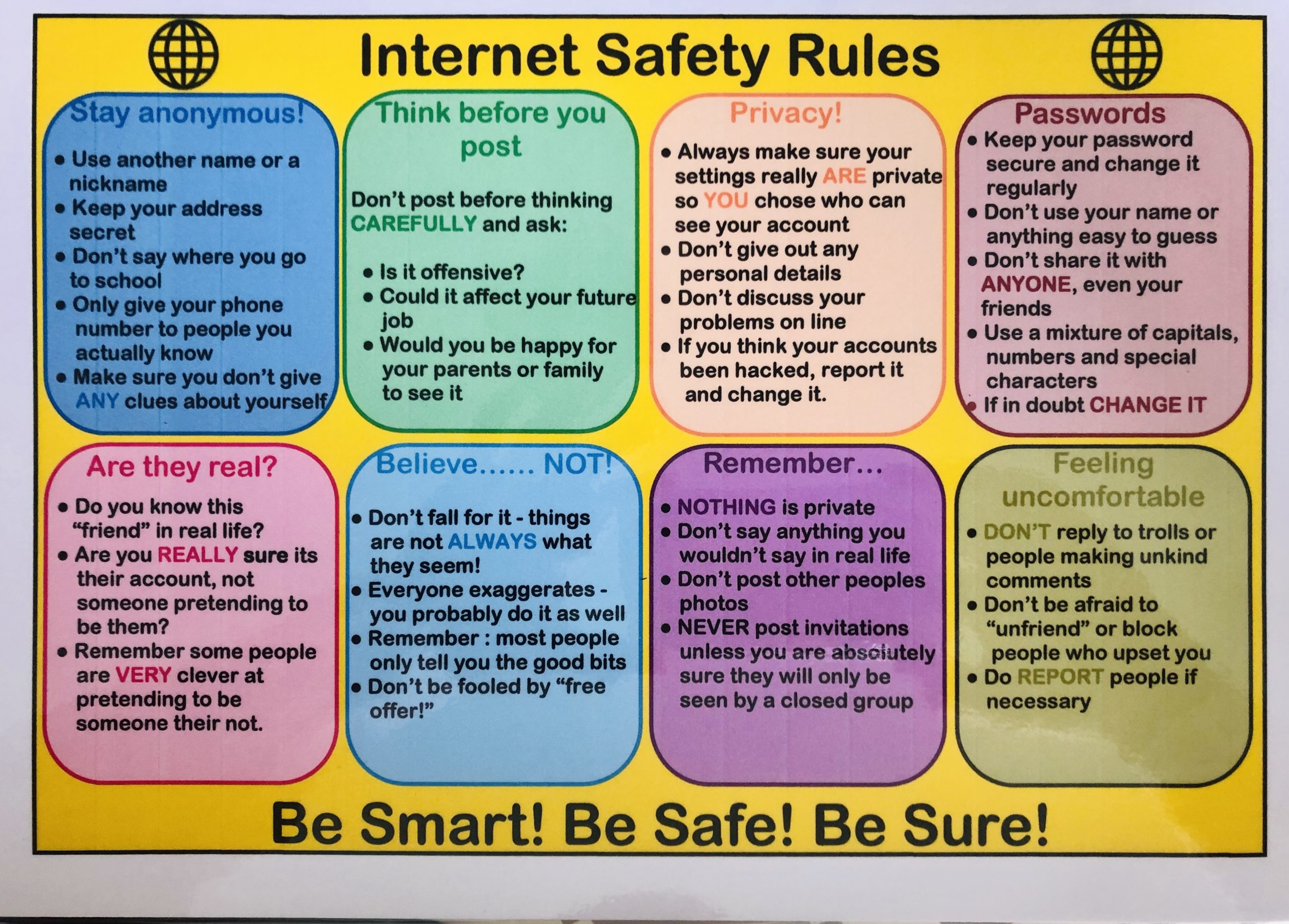 Internet Safety Rules Poster - AP Cymru
